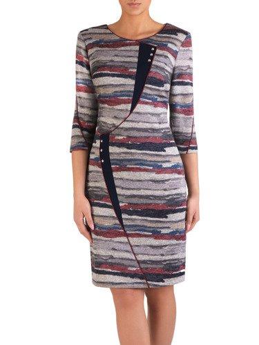Dzianinowa sukienka z modnymi, geometrycznymi wstawkami 14463.