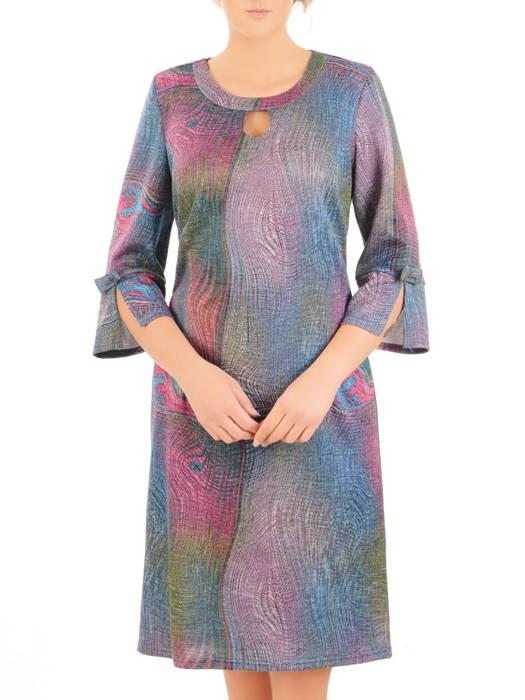 Dzianinowa sukienka z modnymi rękawami i ozdobnie wyciętym dekoltem 30518