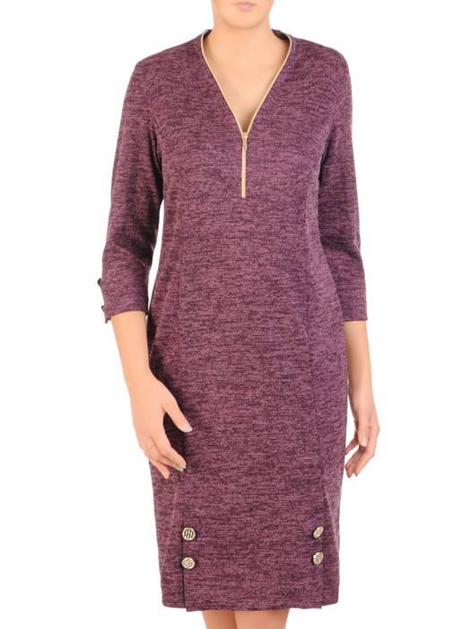 Dzianinowa sukienka z ozdobnym złotym zamkiem 30738