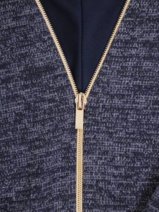 Dzianinowa sukienka z ozdobnym złotym zamkiem 30739