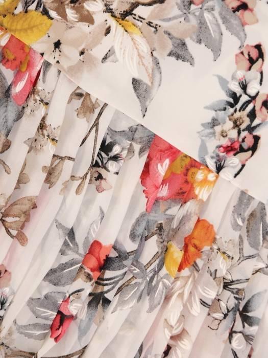 Dzianinowa sukienka z szyfonowymi rękawkami i plisami 29926