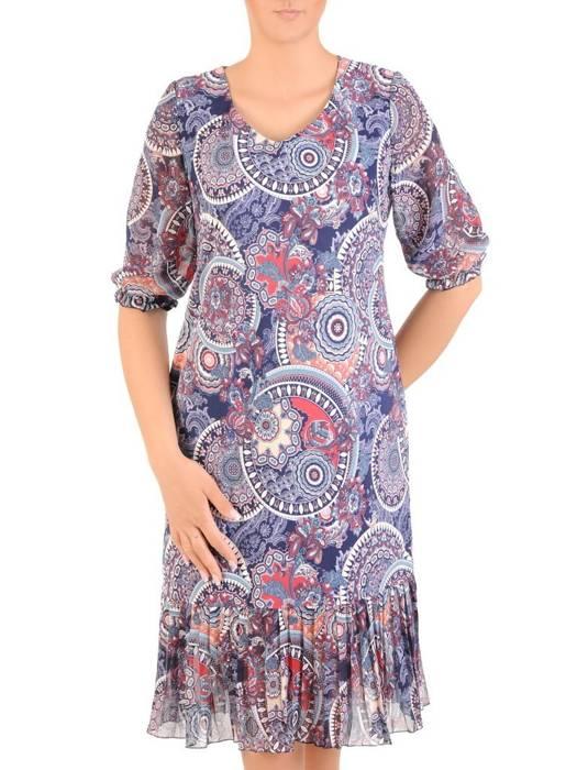 Dzianinowa sukienka z szyfonowymi rękawkami i plisami 30130