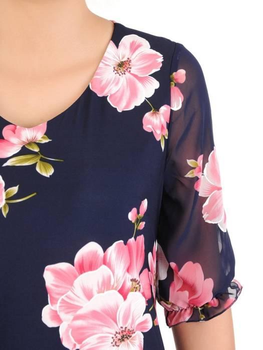 Dzianinowa sukienka z szyfonowymi rękawkami i plisami 30134