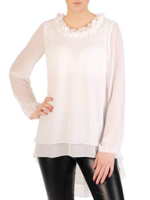 Elegancka biała bluzka z dłuższym tyłem 29251
