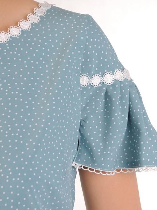 Elegancka bluzka w groszki z ozdobnymi, koronkowymi wstawkami 29974