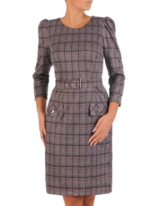 Elegancka dzianinowa sukienka z bufiastymi rękawami 27368