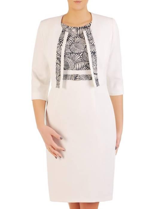 Elegancka jasna sukienka z ozdobnym wzorem 28571