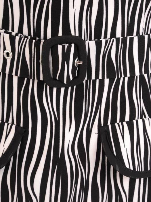Elegancka, kontrastowa sukienka z marszczonymi rękawami 27553