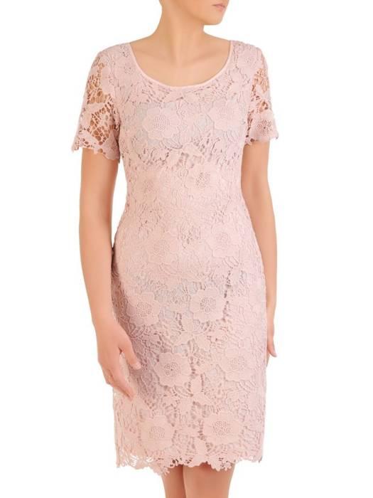 Elegancka, kopertowa sukienka w kolorze pudrowego różu 29855