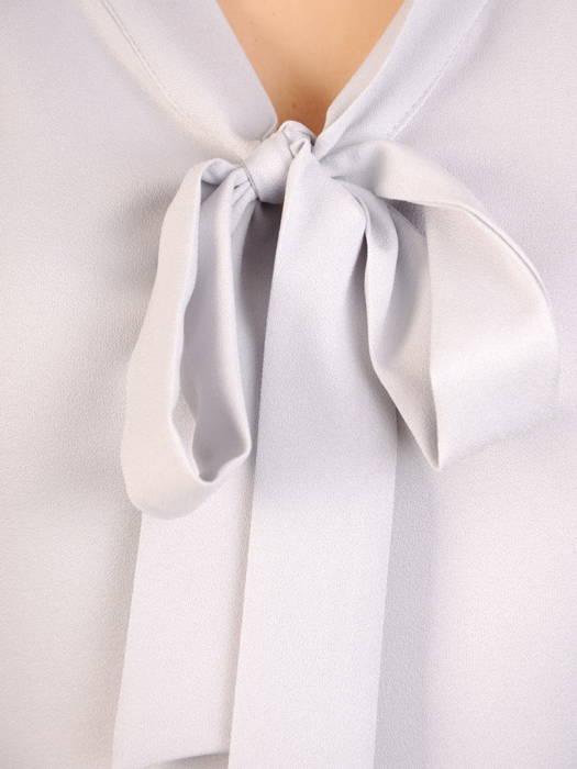 Elegancka, popielata bluzka z ozdobnym wiązaniem 30616