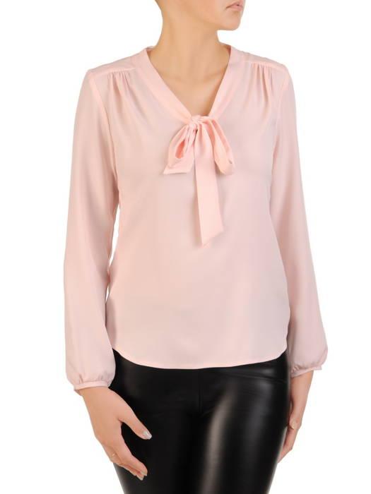 Elegancka, pudrowa bluzka z ozdobnym wiązaniem 30618