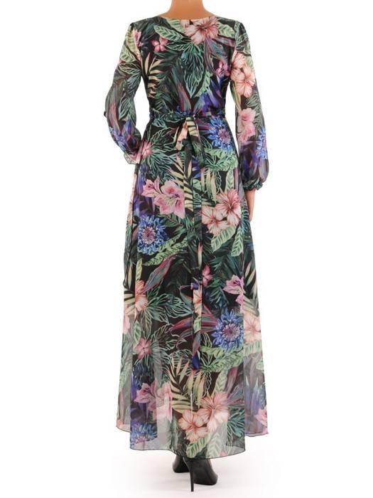 Elegancka sukienka maxi, kreacja z ozdobnymi rozcięciami na rękawach 27152