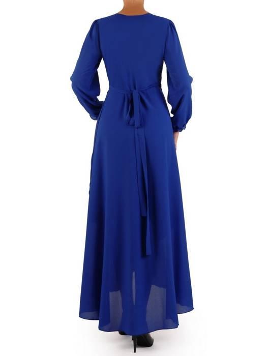 Elegancka sukienka maxi, kreacja z ozdobnymi rozcięciami na rękawach 27162