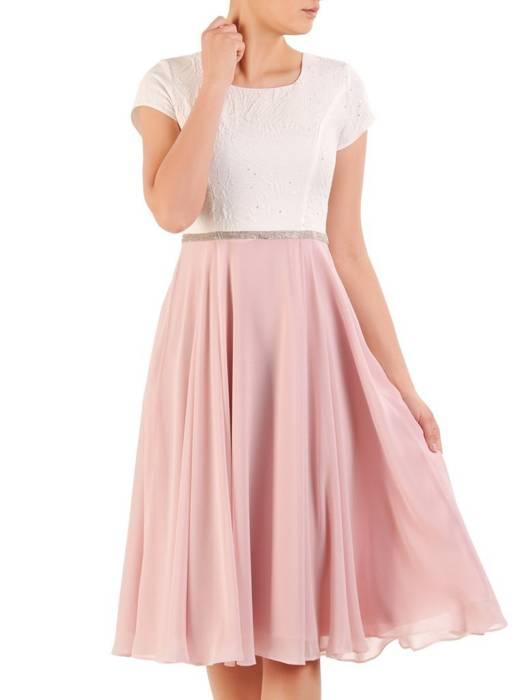 Elegancka sukienka na wesele, kreacja z żakardu i szyfonu 29901