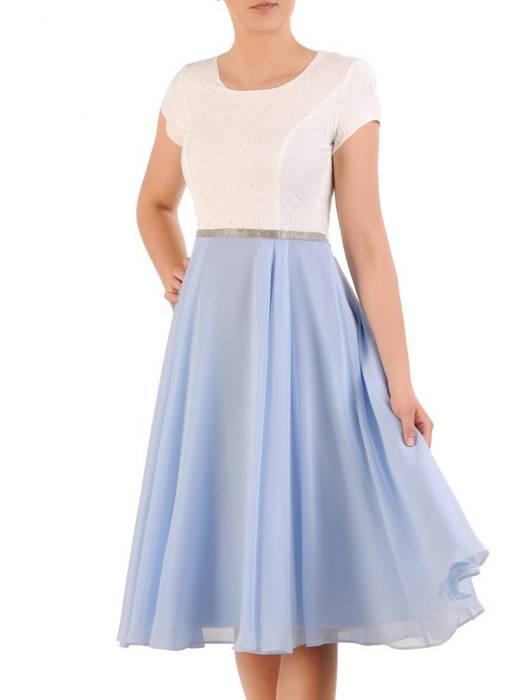 Elegancka sukienka na wesele, kreacja z żakardu i szyfonu 29902