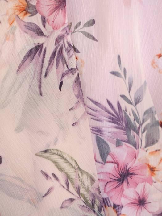 Elegancka sukienka w kwiaty, kreacja maskująca niedoskonałości 29098