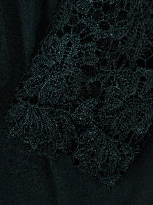 Elegancka sukienka wieczorowa, kreacja z koronkowymi rękawami 24436