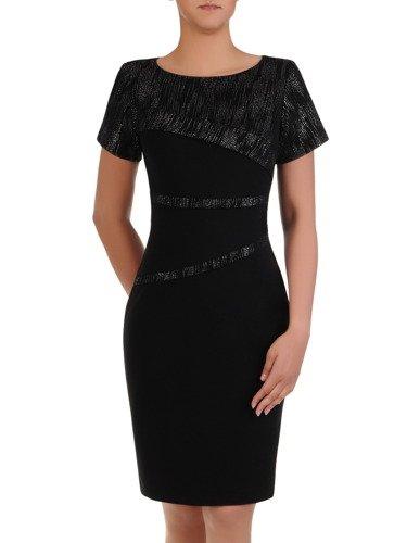 Elegancka sukienka wyszczuplająca Ewita IV, kreacja wyjściowa z błyszczącymi wstawkami.