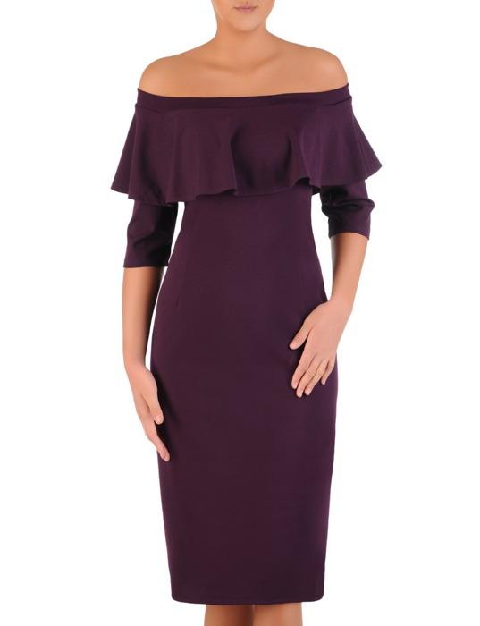Elegancka sukienka z dekoltem carmen, fioletowa kreacja odsłaniająca ramiona 22431