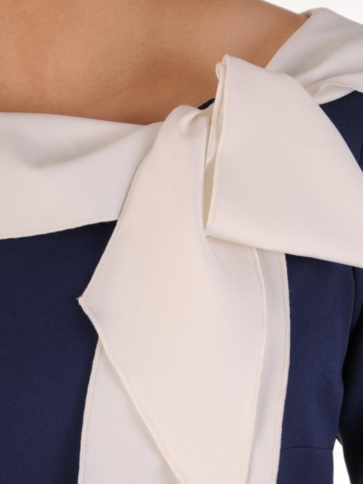 Elegancka sukienka z kontrastowym kołnierzem 20225