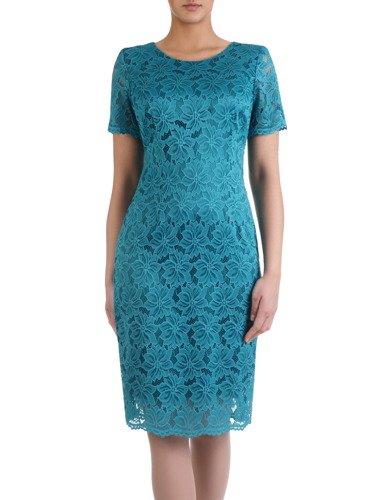 Elegancka sukienka z koronki 15883, prosta kreacja na wieczór.