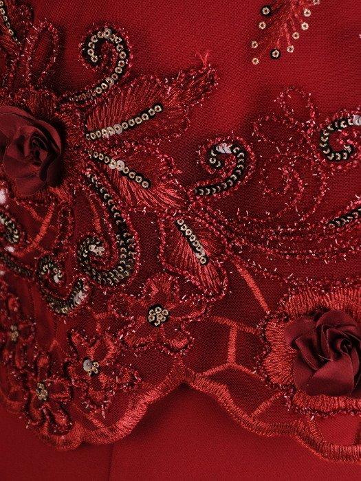 Elegancka sukienka z koronkowym bolerkiem 19365, bordowa kreacja na wesele.