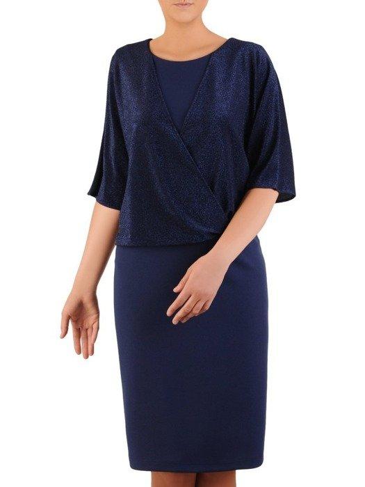 Elegancka sukienka z połyskującym, kopertowym topem 23709