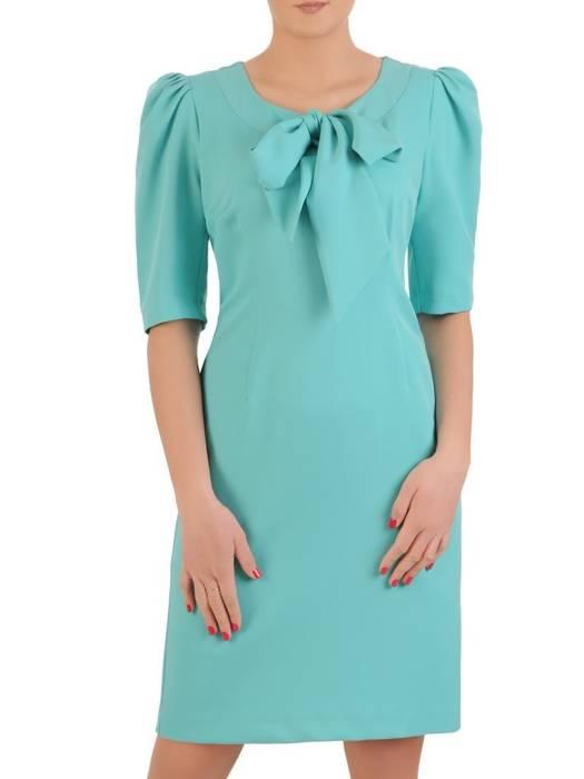 Elegancka sukienka z wiązaną kokardą i bufiastymi rękawami 29153