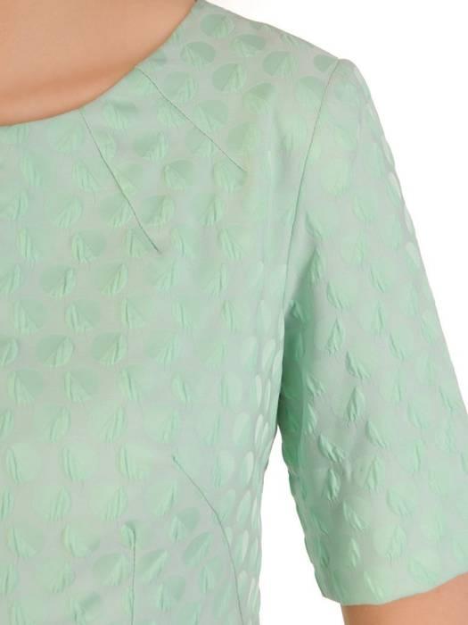 Elegancka sukienka z żakardowej tkaniny, kreacja w miętowym kolorze 29810