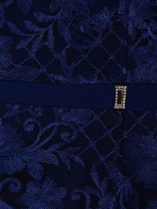 Elegancka suknia z koronkowym topem, chabrowa kreacja maxi 23683