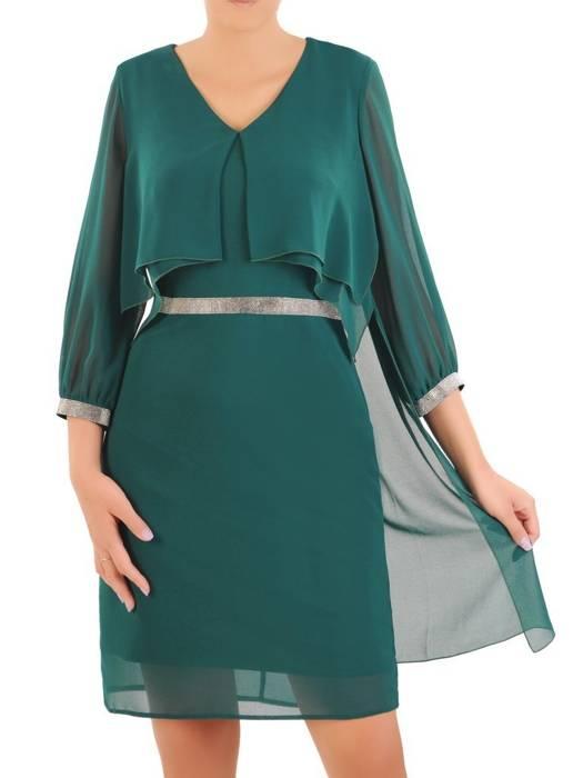 Elegancka zielona sukienka z ozdobnymi cyrkoniami 30330
