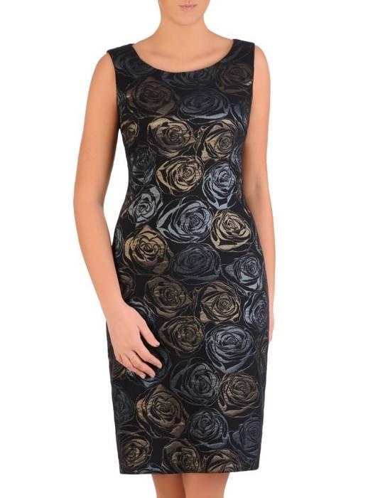 Elegancki komplet damski, wytłaczana sukienka z szyfonową bluzką 28082