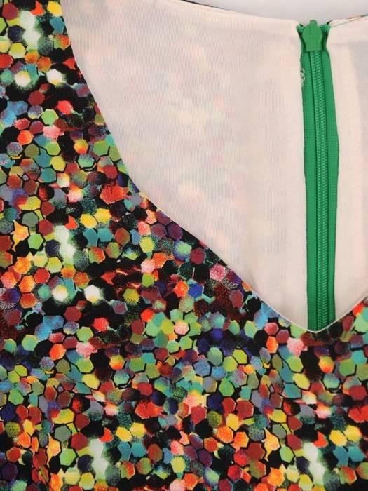 Elegancki komplet, wzorzysta sukienka z gładkim żakietem 29911