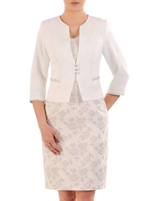 Elegancki kostium damski, żakardowa sukienka z gładkim żakietem 29930