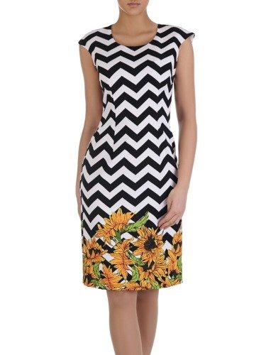 Geometryczna sukienka z kwiatowym nadrukiem 14896, prosta kreacja na wiosnę.