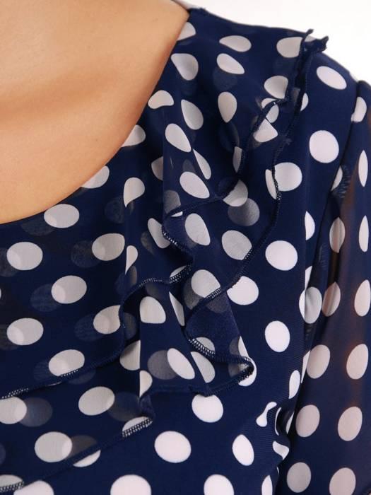 Granatowa bluzka w groszki z żabotem 26720