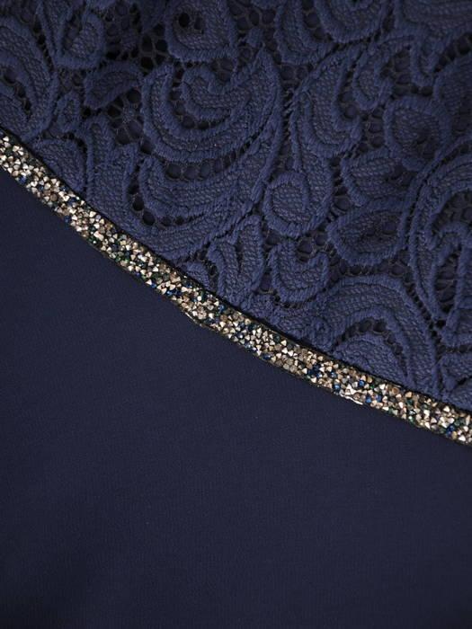 Granatowa sukienka wieczorowa z koronkowym topem i szyfonową spódnicą 30626