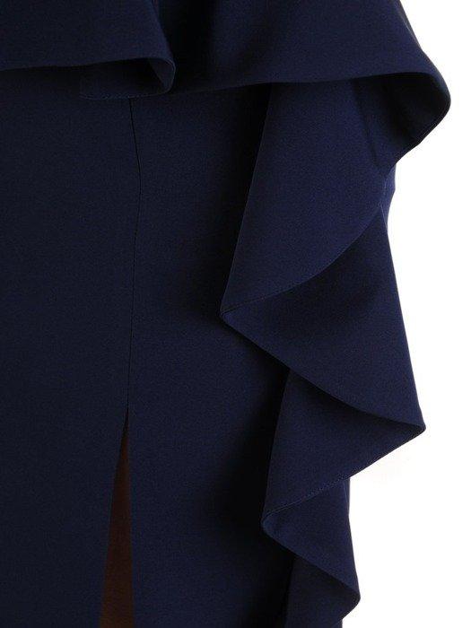 Granatowa sukienka wizytowa z efektowną baskinką 24553