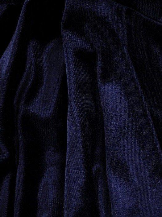 Granatowa sukienka z aksamitu, wizytowa kreacja z modną falbaną 24039