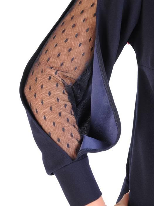 Granatowa sukienka z modnymi wstawkami na rękawach 29536