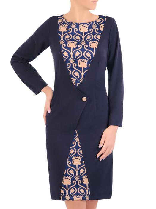 Granatowa sukienka z ozdobnym przodem maskującym niedoskonałości 30861