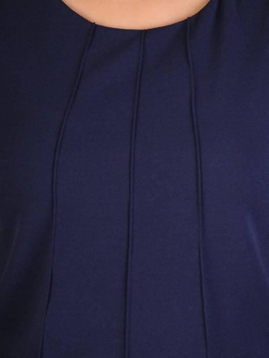 Granatowa sukienka z ozdobnymi, plisowanymi rękawami 29237