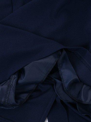 Granatowa sukienka z tiulowymi rękawami 14726, wieczorowa kreacja z ozdobnym dekoltem.