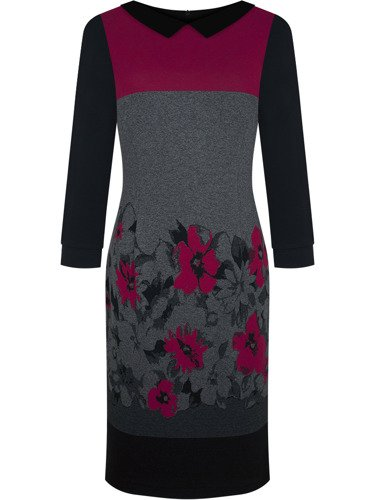 Jesienna sukienka Celestia XVIII, elegancka kreacja w kwiatowy wzór.
