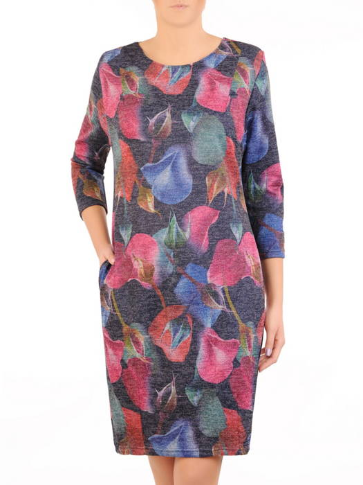 Jesienna sukienka w kwiaty w luźnym fasonie 31023
