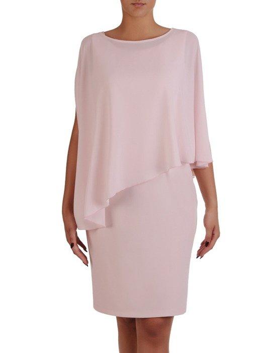 Klasyczna sukienka z asymetryczną narzutką 17299.