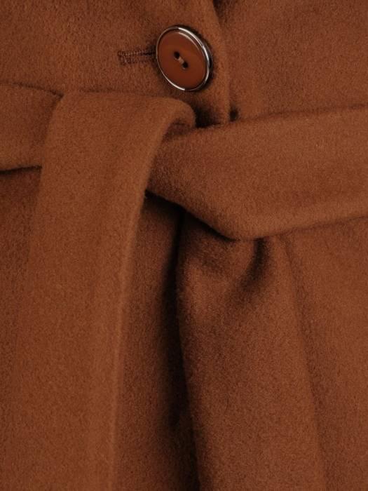 Klasyczny płaszcz damski jesienno zimowy w kolorze brązowym 27797