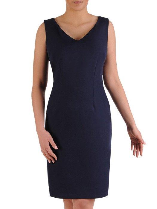 Komplet damski 2w1, granatowa sukienka z luźną szyfonową narzutką 20026.