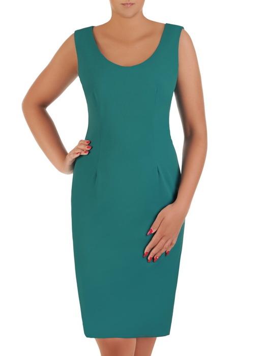 Komplet damski, szmaragdowa sukienka z narzutką 21334.