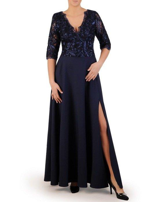 Kopertowa sukienka maxi, kreacja z koronkowym topem 23108